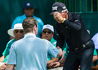 Robert Macintyre (SCO) and Gary Player (RSA) during the first round at the Nedbank Golf Challenge hosted by Gary Player,  Gary Player country Club, Sun City, Rustenburg, South Africa. 14/11/2019 <br /> Picture: Golffile | Tyrone Winfield<br /> <br /> <br /> All photo usage must carry mandatory copyright credit (© Golffile | Tyrone Winfield)