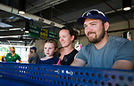 HARTFORD,  CT-071818JS024--Ban Thompson of Cromwell, spent his birthday with his wife Mary Kate and daughter Mallory, 4, at the Yard Goat's game against Reading on Wednesday afternoon at Dunkin Donuts Park in Hartford.<br /> Jim Shannon Republican American