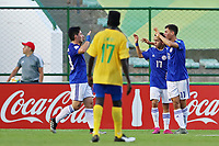 31st October 2019; Bezerrao Stadium, Brasilia, Distrito Federal, Brazil; FIFA U-17 World Cup Brazil 2019, Solomon Islands versus Paraguay; Matias Segovia of Paraguay celebrates his goal with Junior Noguera in the 43rd minute for 0-2 - Editorial Use
