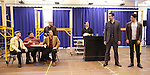 """Nick Cordero and Bobby Conte Thornton with cast during the open press rehearsal for """"A Bronx Tale - The New Musical""""  at the New 42nd Street Studios on October 21, 2016 in New York City."""