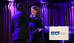 Raja Feather Kelly and Lee Sunday Evans on stage during the Second Annual SDCF Awards, A celebration of Excellence in Directing and Choreography, at the Green Room 42 on November 11, 2018 in New York City.