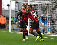 Callum Wilson of AFC Bournemouth celebrates his goal with Junior Stanislas of AFC Bournemouth during AFC Bournemouth vs Manchester United, Premier League Football at the Vitality Stadium on 3rd November 2018