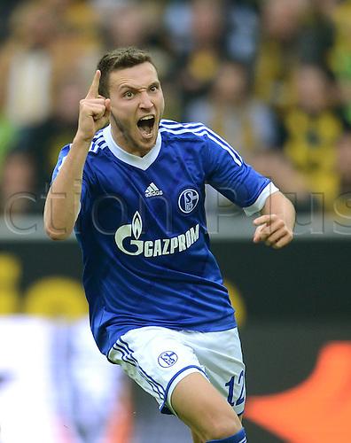 20.10.2012. Dortmund, Germany   Bundesliga  Borussia Dortmund versus FC Schalke 04. Cheering After the goal for 0-2 is Marco Hoeger FC Schalke 04