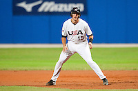 24 September 2009: Jason Castro of Team USA takes a lead during the 2009 Baseball World Cup final round match won 5-3 by Team USA over Cuba, in Nettuno, Italy.