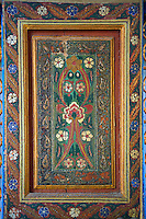 Berber arabesque wood painted  panel.The Petite Court, Bahia Palace, Marrakesh, Morroco