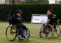 Queens Club, GREAT BRITAIN,   Wheel chair Tennis, Ben and Jon pass a comment on their stroke play.  Before the  press Conference to announce the joint initiative between British Paralympic Association and Deloitte  of 'www.Parasport.org.uk' online information service, on Thur's.  03.05.2007. London. [Credit: Peter Spurrier/Intersport Images]