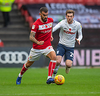 Bristol City's Marlon Pack (left) under pressure from Preston North End's Tom Barkhuizen (right) <br /> <br /> Photographer David Horton/CameraSport<br /> <br /> The EFL Sky Bet Championship - Bristol City v Preston North End - Saturday 10th November 2018 - Ashton Gate Stadium - Bristol<br /> <br /> World Copyright © 2018 CameraSport. All rights reserved. 43 Linden Ave. Countesthorpe. Leicester. England. LE8 5PG - Tel: +44 (0) 116 277 4147 - admin@camerasport.com - www.camerasport.com