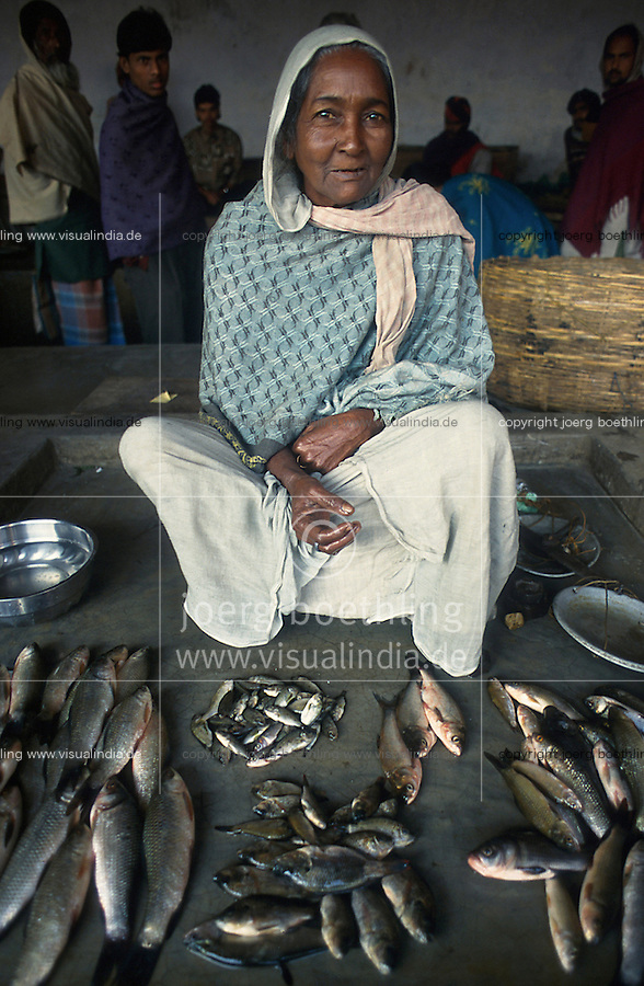 INDIEN, Frau auf Fischmarkt in Westbengalen / INDIA West Bengal , woman at fish market