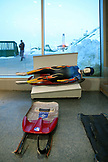 USA, Utah, Park City, A luge display at the Alf Engen Ski Museum, Utah Olympic Park