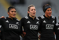 The Black Ferns line up before the International Women's Rugby match between the New Zealand All Blacks and Australia Wallabies at Eden Park in Auckland, New Zealand on Saturday, 17 August 2019. Photo: Simon Watts / lintottphoto.co.nz