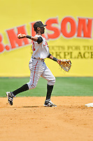Shortstop Alen Hanson (22) of the Altoona Curve makes a play during a game against the New Britain Rocks Cats at New Britain Stadium on July 23, 2014 in New Britain, Connecticut.  Altoona defeated New Britain 8-5. (Gregory Vasil/Four Seam Images)