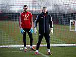 Dean Henderson of Sheffield Utd and Michael Verrips of Sheffield Utd during a training session at the Steelphalt Academy, Sheffield. Picture date: 5th March 2020. Picture credit should read: Simon Bellis/Sportimage