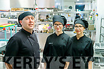 Ashe Hotel and Manor West catering manager Jerry Fitzgerald with student chefs Justyna Cebula and Anna Siembab
