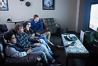 NWA Democrat-Gazette/CHARLIE KAIJO Students Phat Le of Springdale (from left), Miles Casey of Siloam Springs, Jakelin Calleros of Lowell, Steven Beard of Bella Vista and Brennan Kitchens of Centerton play Super Smash Bros., Thursday, November 21, 2019 at the Northwest Arkansas Community College game room in Bentonville.<br /> <br /> Northwest Arkansas Community College continues to study the possibility of adding dormitories to its campus. The college is investing about $10,000 in a feasibility study by Vogt Strategic Insights.