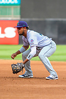 Cedar Rapids Kernels first baseman Amaurys Minier (24) gets in defensive position during a Midwest League game against the Wisconsin Timber Rattlers on August 6, 2017 at Fox Cities Stadium in Appleton, Wisconsin.  Cedar Rapids defeated Wisconsin 4-0. (Brad Krause/Four Seam Images)
