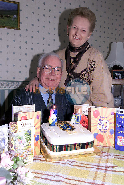 Josie and Harry Murray with Harrys 80th Birthday cake..Pic Fran Caffrey Newsfile