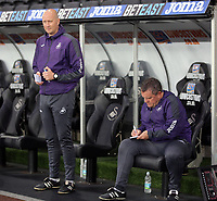 Pictured: (L-R) Swansea City coaches Cameron Toshack  and Gary Richards Monday 15 May 2017<br />
