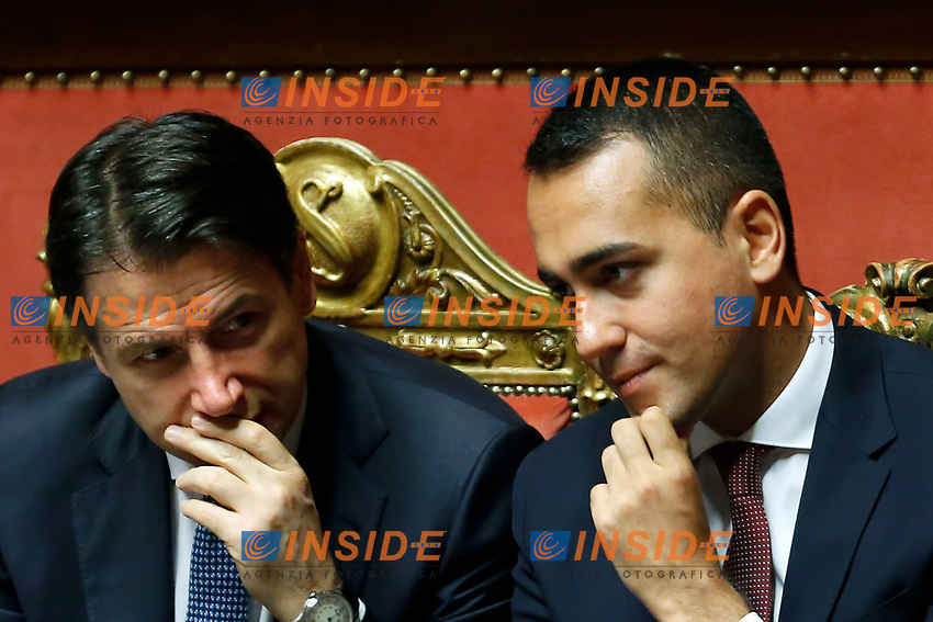 Giuseppe Conte and Luigi Di Maio <br /> Rome September 10th 2019. Senate. Discussion and Trust vote at the new Government. <br /> Foto  Samantha Zucchi Insidefoto