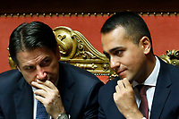 Giuseppe Conte and Luigi Di Maio <br /> Rome September 10th 2019. Senate. Discussion and Trust vote at the new Government. <br /> Foto  Samantha Zucchi Insidefoto