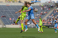 Bridgeview, IL - Sunday June 04, 2017: Rebekah Stott, Danielle Colaprico during a regular season National Women's Soccer League (NWSL) match between the Chicago Red Stars and the Seattle Reign FC at Toyota Park. The Red Stars won 1-0.