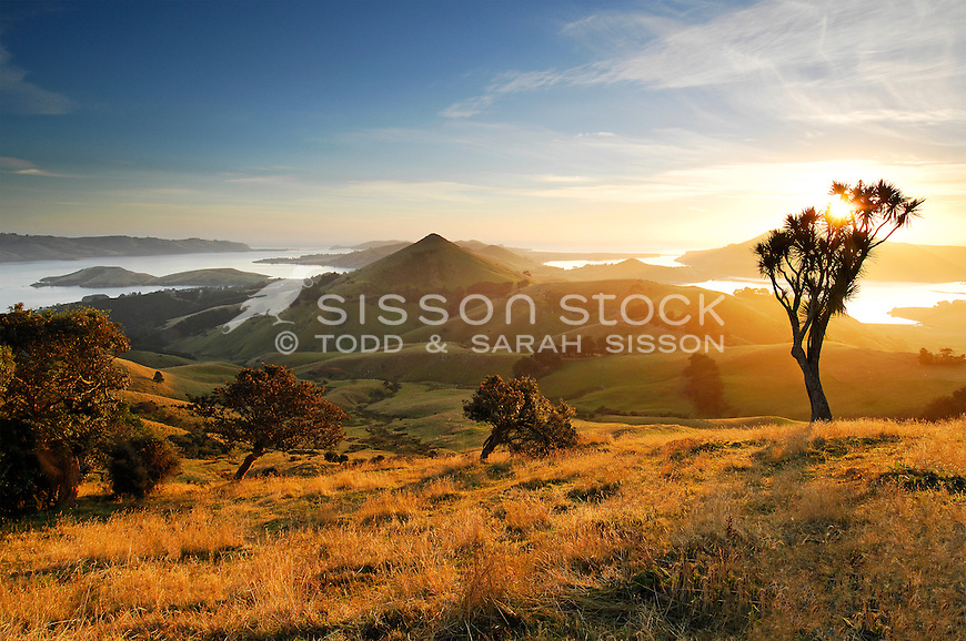 Harbour Cone and the Otago Peninsula towards Tairoa Head at sunrise. South Island New Zealand