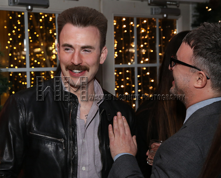 Chris Evans and Trip Cullman attends the the Broadway Opening Night Performance After Party for 'Lobby Hero' at Bryant Park Grill on March 26, 2018 in New York City.
