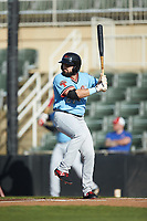 Tanner Gardner (27) of the Hickory Crawdads at bat against the Kannapolis Intimidators at Kannapolis Intimidators Stadium on May 6, 2019 in Kannapolis, North Carolina. The Crawdads defeated the Intimidators 2-1 in game one of a double-header. (Brian Westerholt/Four Seam Images)