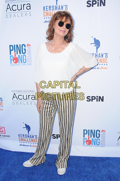 11 August 2016 - Los Angeles, California. Susan Sarandon. Clayton Kershaw's 4th Annual Ping Pong 4 Purpose Celebrity Tournament held at Dodger Stadium. <br /> CAP/ADM/BT<br /> &copy;BT/ADM/Capital Pictures