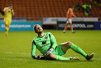 Morecambe's Mark Halstead reacts to conceding a fifth goal<br /> <br /> Photographer Alex Dodd/CameraSport<br /> <br /> EFL Leasing.com Trophy - Northern Section - Group G - Blackpool v Morecambe - Tuesday 3rd September 2019 - Bloomfield Road - Blackpool<br />  <br /> World Copyright © 2018 CameraSport. All rights reserved. 43 Linden Ave. Countesthorpe. Leicester. England. LE8 5PG - Tel: +44 (0) 116 277 4147 - admin@camerasport.com - www.camerasport.com