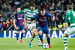 Francisco Alcacer Garcia, Paco Alcacer (r), of FC Barcelona fights for the ball with Cristiano Piccini of Sporting CP during the UEFA Champions League 2017-18 match between FC Barcelona and Sporting CP at Camp Nou on 05 December 2017 in Barcelona, Spain. Photo by Vicens Gimenez / Power Sport Images