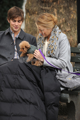 Chace Crawford and Blake Lively on the set of Gossip Girl in New York City. October 14, 2009.. Credit: Dennis Van Tine/MediaPunch