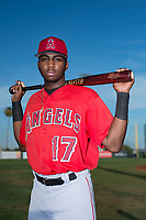 AZL Angels outfielder Trent Deveaux (17) poses for a photo before an Arizona League game against the AZL Padres 2 at Tempe Diablo Stadium on July 18, 2018 in Tempe, Arizona. The AZL Padres 2 defeated the AZL Angels 8-1. (Zachary Lucy/Four Seam Images)