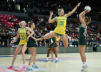 15.09.2018 South Africa's Lenize Potgieter and Australia's Courtney Bruce in action during the Australia v South Africa netball test match at Spark Arena in Auckland. Mandatory Photo Credit ©Michael Bradley.