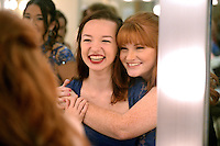 NWA Democrat-Gazette/BEN GOFF @NWABENGOFF<br /> Grace Mayes (left) and fellow contestant Georgia Brown get ready in the dressing room on Thursday Sept. 24, 2015 before Talent Night of the Miss Bentonville High School Scholarship Pageant in the school's Arend Arts Center. Evening gown, finals and awards for the pageant will be held at the school on Saturday at 7:00p.m.