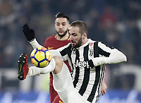 Calcio, Serie A: Juventus - AS Roma, Torino, Allianz Stadium, 23 dicembre, 2017. <br /> Juventus' Gonzalo Higuain in action during the Italian Serie A football match between Juventus and Roma at Torino's Allianz stadium, December 23, 2017.<br /> UPDATE IMAGES PRESS/Isabella Bonotto
