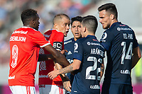 4th February 2020; National Stadium of Chile, Santiago, Chile; Libertadores Cup, Universidade de Chile versus Internacional; Pablo Aránguiz, Luis Del Pino of Universidad de Chile, Edenilson and D'Alessandro of Internacional get into an argument about play