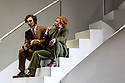 """English National Opera presents Christopher Alden's production of """"Partenope"""", by George Frederic Handel, at the London Coliseum.  Picture shows: James Laing (Armindo), Stephanie Windsor-Lewis (Rosmira, disguised as Eurimene)"""