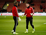 Simon Moore of Sheffield Utd and Dean Henderson of Sheffield Utd during the Premier League match at Bramall Lane, Sheffield. Picture date: 5th December 2019. Picture credit should read: Simon Bellis/Sportimage