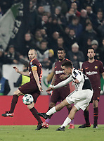 Football Soccer: UEFA Champions League Juventus vs FC Barcelona Allianz Stadium. Turin, Italy, November 22, 2017. <br /> Juventus' Paulo Dybala (r) in action with FC Barcelona's captain Andr&eacute;s Iniesta (l) during the Uefa Champions League football soccer match between Juventus and FC Barcelona at Allianz Stadium in Turin, November 22, 2017.<br /> UPDATE IMAGES PRESS/Isabella Bonotto