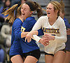 Jordan Osler #37 of Mattituck, right, and teammates celebrate after their 3-0 win over East Rockaway in the girls volleyball Class C Long Island Championship at Farmingdale State College on Sunday, Nov. 11, 2018.