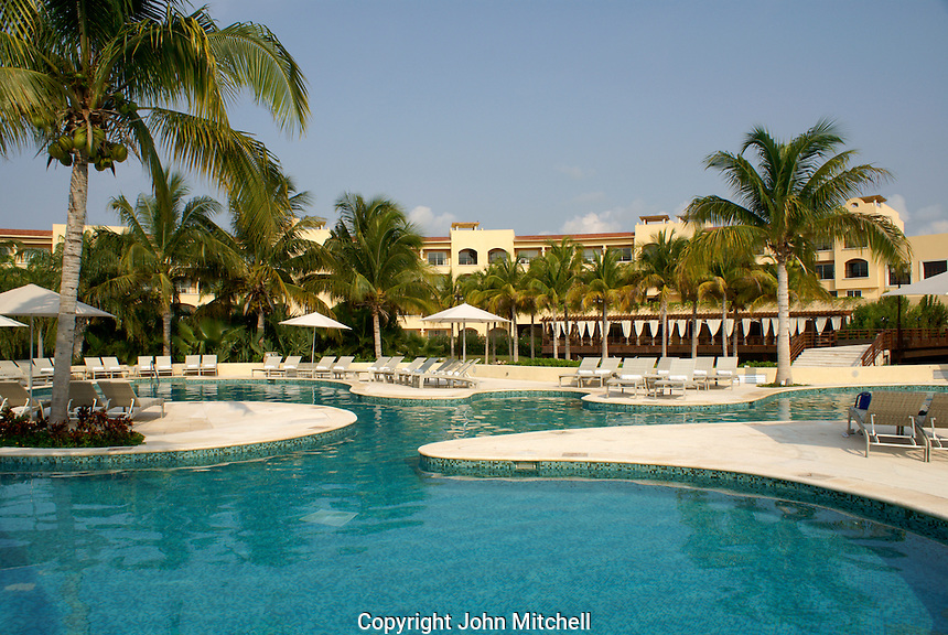 Swimming pool at Hacienda Tres Rios, an eco-luxury resort on the Riviera Maya, Quintana Roo, Mexico.