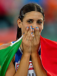 31.07.2010, Olympic Stadium, Barcelona, ESP, European Athletics Championships Barcelona 2010, im Bild Second placed Italy's Simona La Mantia celebrates after the women's triple jump final, EXPA Pictures © 2010, PhotoCredit: EXPA/ Sportida/ Vid Ponikvar +++++ ATTENTION - OUT OF SLOVENIA +++++