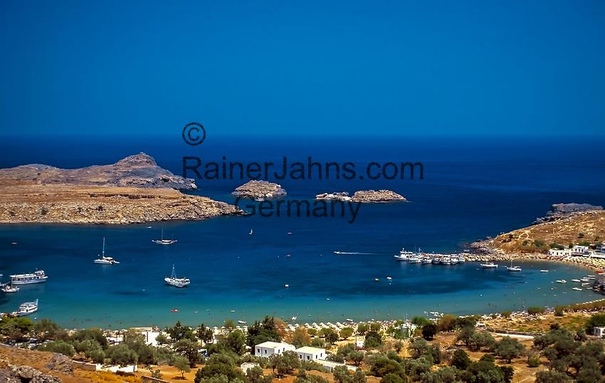 Griechenland, Dodekanes, Rhodos, Lindos: Grand Harbour   Greece, Dodekanes, Rhodes, Lindos: Grand Harbour