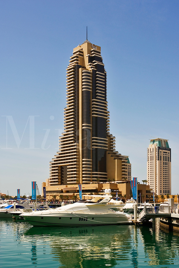 Dubai Marina with Grosvenor House Hotel. Dubai. United Arab Emirates.