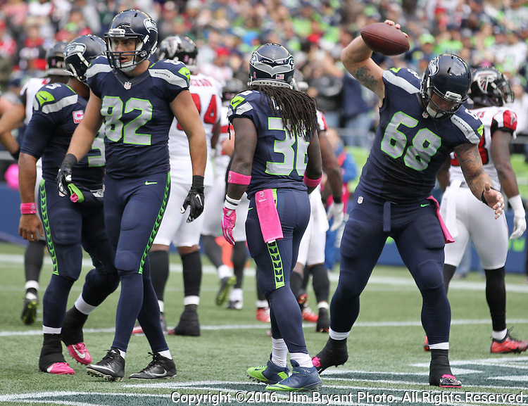 during the quarter at CenturyLink Field in Seattle, Washington on October 16, 2016. The Seahawks beat the Falcons 26-24.    ©2016. Jim Bryant Photo. All Rights Reserved.