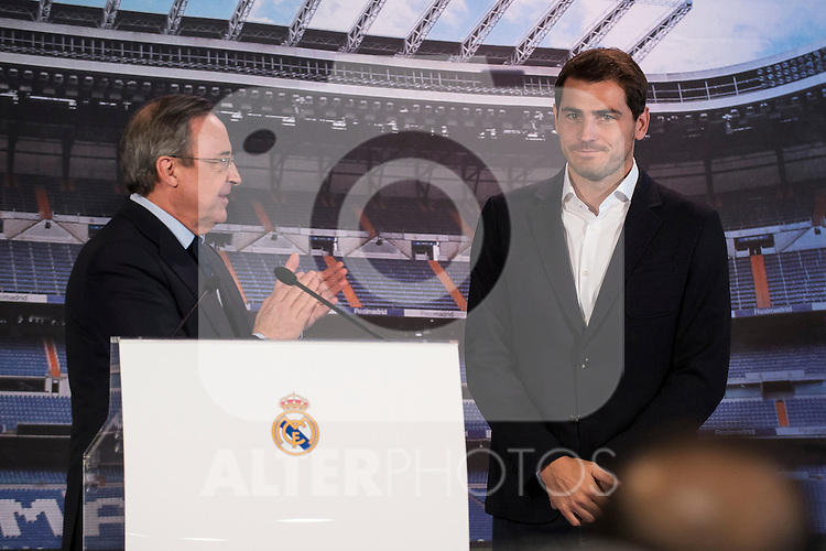 President of Real Madrid, Florentino P&eacute;rez and Porto FC new goalkeeper, Iker Casillas, during Iker Casillas tribute at Santiago Bernabeu Stadium in Madrid. July 13. 2015.<br />  (ALTERPHOTOS/BorjaB.Hojas)