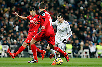 Gareth Bale of Real Madrid and Krichowiak of Sevila during La Liga match between Real Madrid and Sevilla at Santiago Bernabeu Stadium in Madrid, Spain. February 04, 2015. (ALTERPHOTOS/Caro Marin) /NORTEphoto.com