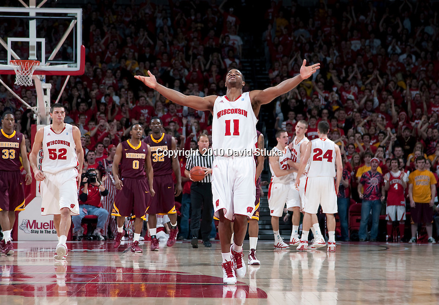 Wisconsin Badgers guard Jordan Taylor (11) celebrates during an NCAA Big Ten Conference basketball game against the Minnesota Golden Gophers at the Kohl Center in Madison, Wisconsin on December 28, 2010. The Badgers won 68-60. (Photo by David Stluka)
