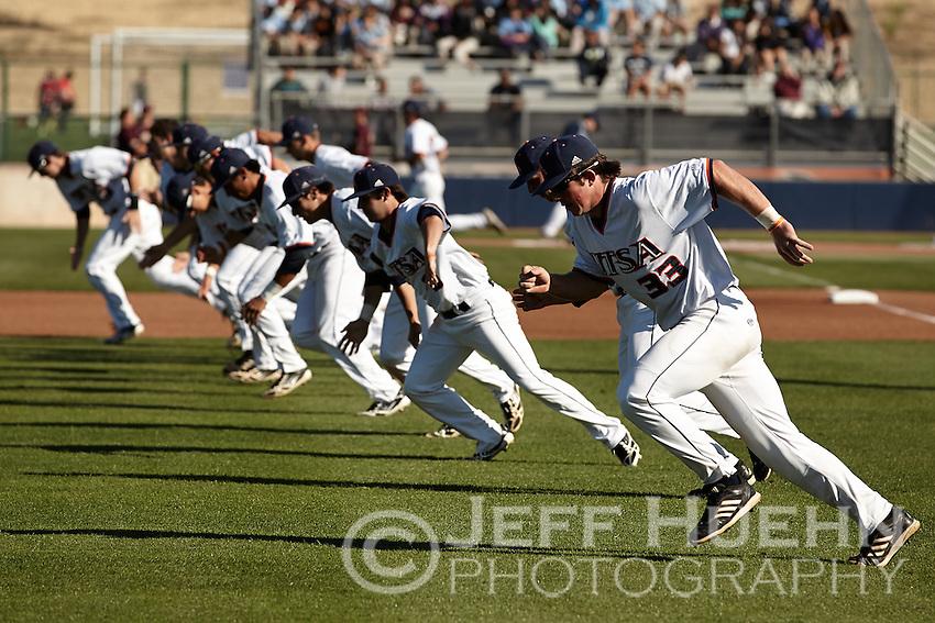 SAN ANTONIO, TX - MAY 3, 2013: The Texas State University Bobcats versus The University of Texas at San Antonio Roadrunners Baseball at Roadrunner Field. (Photo by Jeff Huehn)
