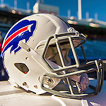 12 October 2014: A 2014 Buffalo Bills Helmet sits ready for a game against the New England Patriots at Ralph Wilson Stadium in Orchard Park, NY. The Patriots defeated the Bills 37-22 to move into first place in the AFC Eastern Division. Mandatory Credit: Ed Wolfstein Photo *** RAW (NEF) Image File Available ***